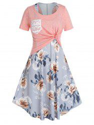Plus Size Floral Racerback Swing Dress With Knotted Tee Set -
