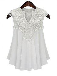 Plus Size V Neck Guipure Lace Cap Sleeve Blouse -
