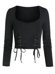 Long Sleeve Lace-up Front Cropped T-shirt -
