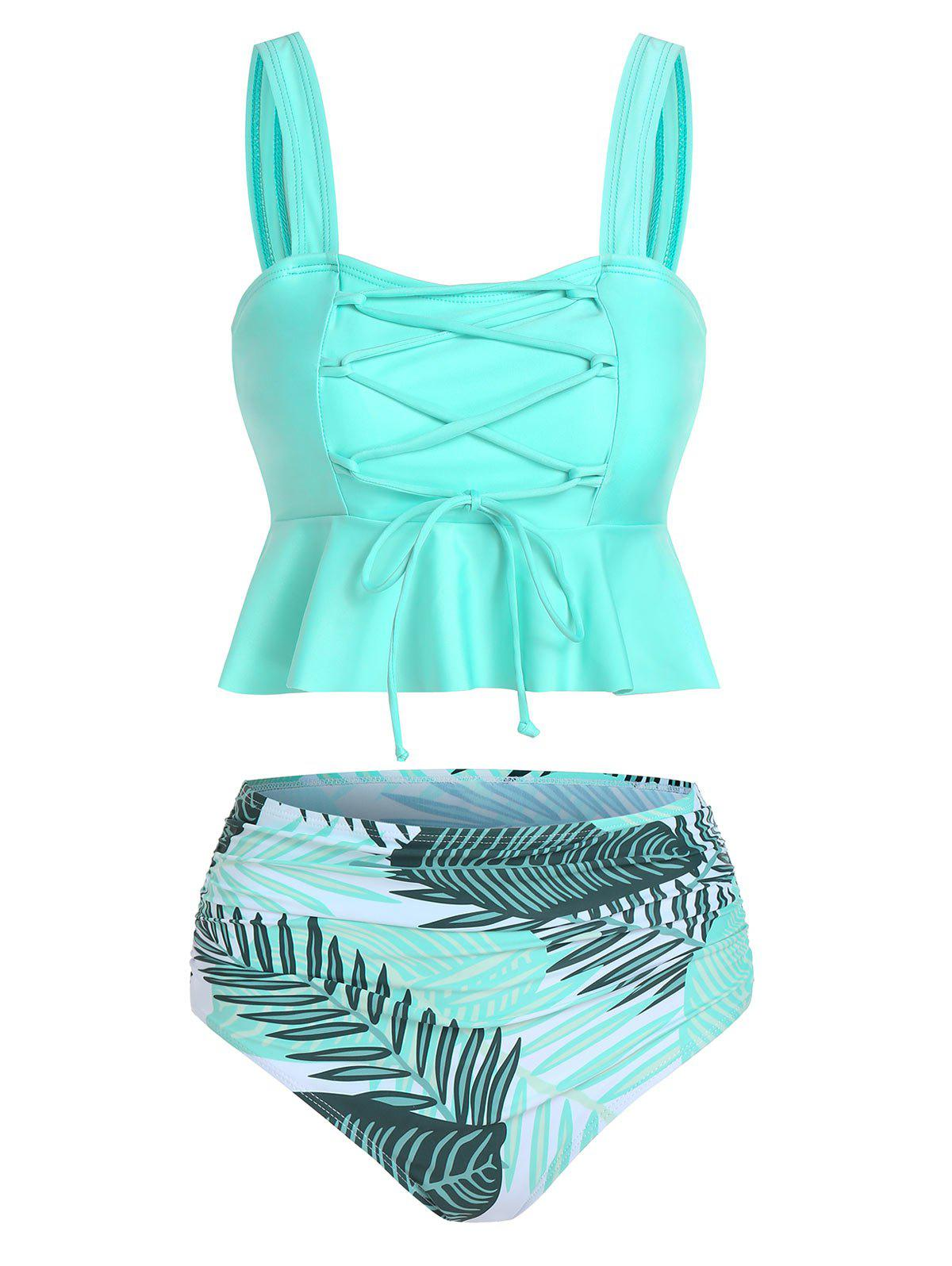 Unique Palm Leaves Print Lace-up Tankini Set