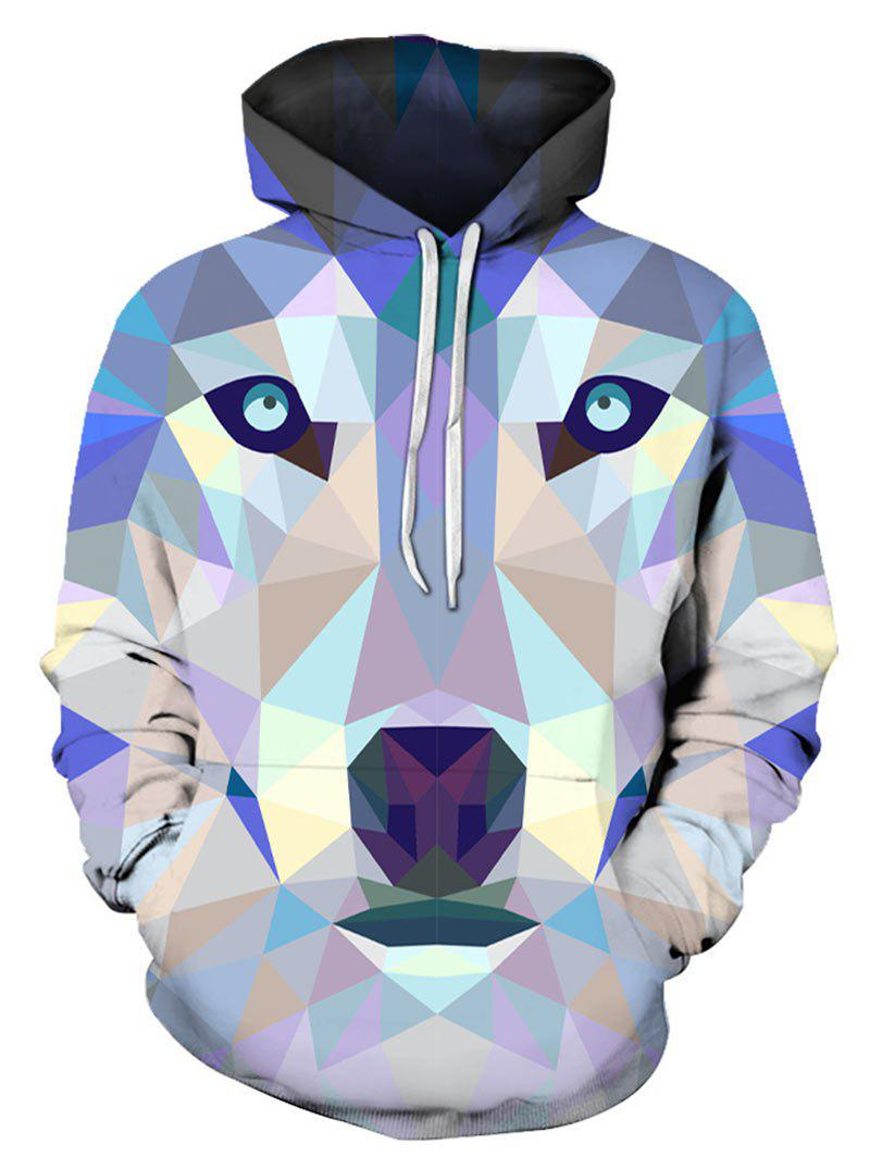 Shop Geometric Animal Print Pocket Hoodie