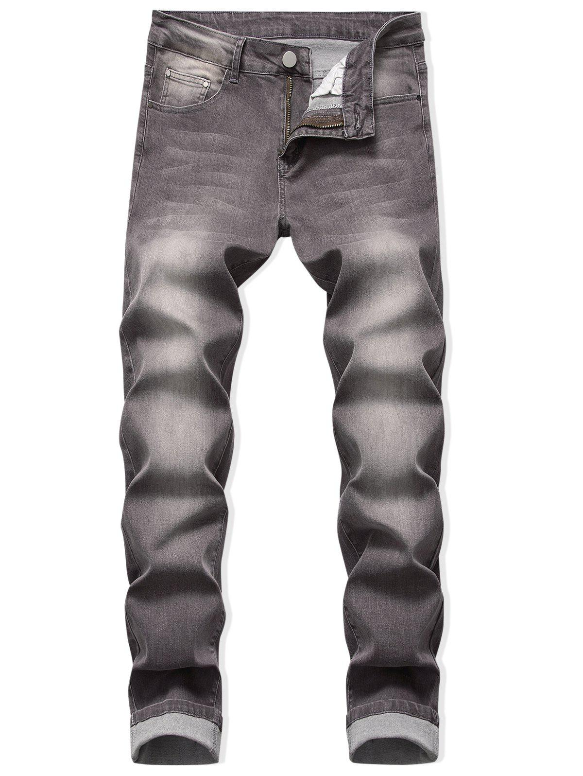 Chic Zip Fly Long Faded Wash Casual Jeans