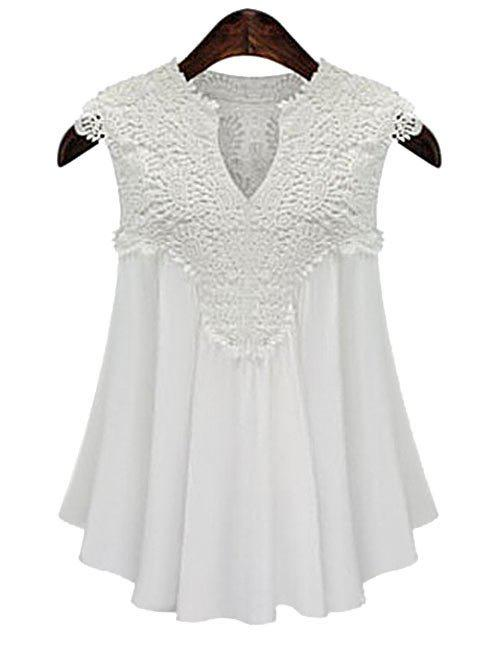 Fancy Plus Size V Neck Guipure Lace Cap Sleeve Blouse