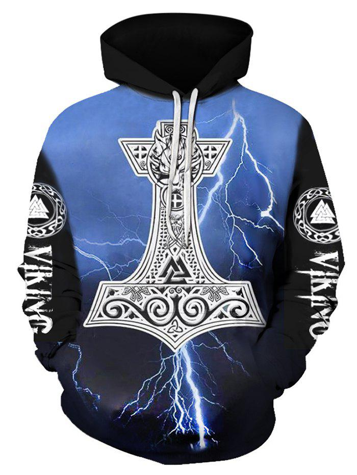 Cheap Letter Lightning Pattern Pocket Hoodie