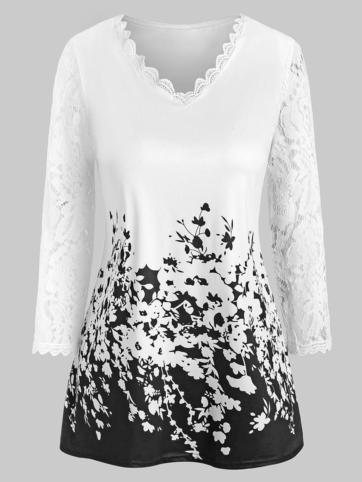 Discount Lace Panel Floral Print V Neck Tee