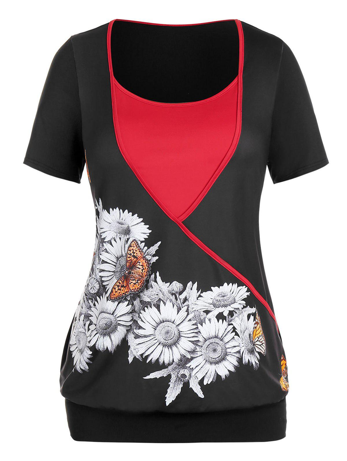 Affordable Plus Size Colorblock Sunflower Butterfly Print T Shirt
