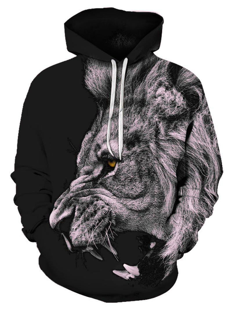 Online Lion Pattern Pouch Pocket Hoodie