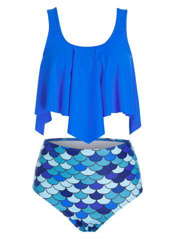 Plus Size Hanky Hem Mermaid Scale Design Tankini Swimsuit