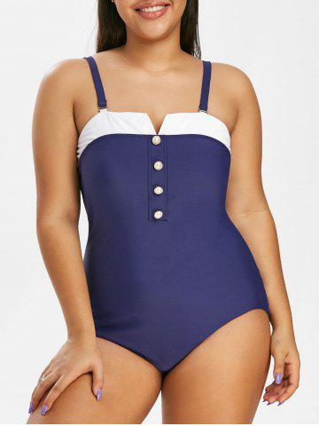 Plus Size V Cut Button Embellished Colorblock Swimwear