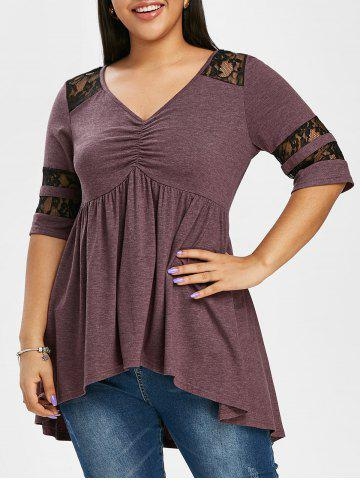 Gathered Front Lace Panel High Low Plus Size Top - PURPLE - L