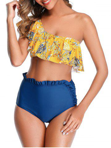 Leaf Print One Shoulder Ruffle High Waisted Bikini Swimwear - SUN YELLOW - XL
