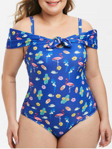 Plus Size Knotted Cold Shoulder Printed One-piece Swimsuit - BLUE - L