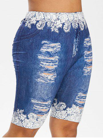 Plus Size Ripped Jeans Floral Printed Fitted Leggings - OCEAN BLUE - L