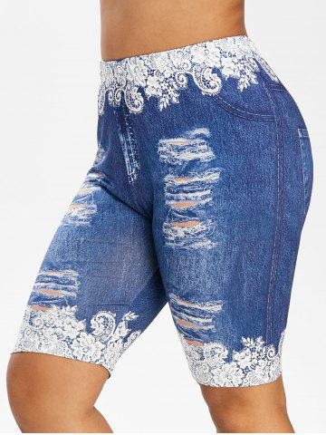 Plus Size Ripped Jeans Floral Printed Fitted Leggings