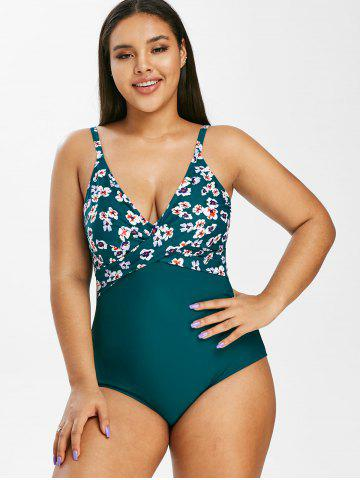 Plus Size Flower Crossover Open Back One-piece Swimsuit