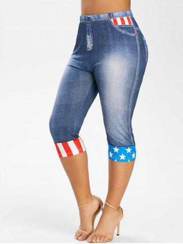 Plus Size American Flag Print 3D Capri Jeggings - LAPIS BLUE - 1X