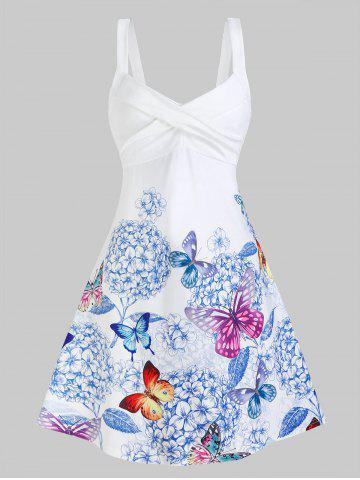 Sleeveless Butterfly and Flower Print Crossover Dress - WHITE - L
