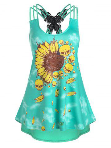 Sunflower Skull Print Butterfly Lace Panel Strappy Tank Top