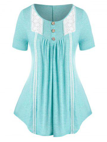 Plus Size Crochet Panel Buttoned Curved Tunic Tee