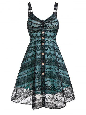 Lace Layers Strap Button Fit And Flare Dress - BLACK - 3XL