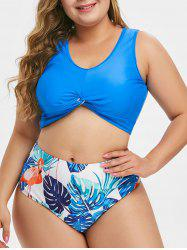 Flamingo Leaves Print Twist Hem Plus Size Tankini Swimsuit -