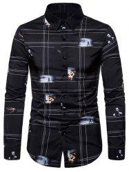 Graphic Pattern Button Long-sleeved Shirt -