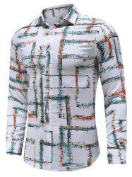 Casual Print Button Long-sleeved Shirt -