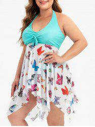 Bowknot Mesh Panel Butterfly Print Handkerchief Plus Size Tankini Set -