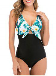 Knot Floral Leaf One-piece Swimsuit -