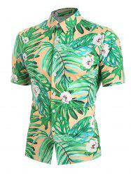 Leaf Floral Print Short Sleeves Shirt -