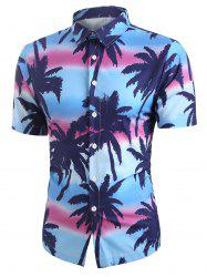 Coconut Tree Printed Button Short Sleeves Shirt -