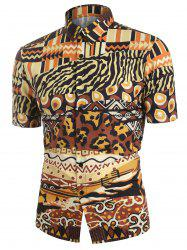 Leopard Animal Print Short Sleeves Shirt -