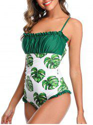 Floral Leaves Print Ruched One-piece Swimsuit -