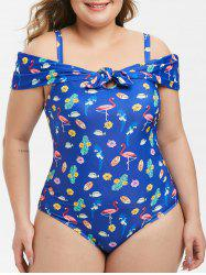 Plus Size Knotted Cold Shoulder Printed One-piece Swimsuit -