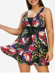 Plus Size Butterfly Print Skirted Tankini Swimsuit -