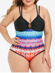 Strappy Printed O Ring Plus Size One-piece Swimsuit -