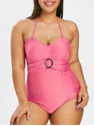 Plus Size O Ring Halter Ruched One-piece Swimwear -