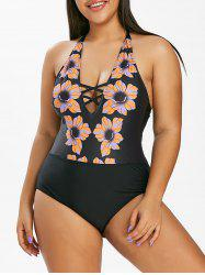 Plus Size Halter Backless Floral Print One-piece Swimwear -