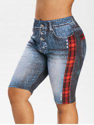 Plus Size Plaid 3D Denim Print Knee Length Leggings -