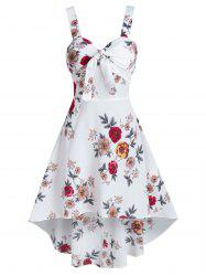 Sleeveless Floral Print Knotted High Low Dress -