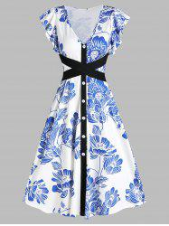 Butterfly Sleeve Floral Print Belted A Line Dress -
