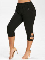 Plus Size Buckles Skinny Capri Pants -