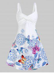 Sleeveless Butterfly and Flower Print Crossover Dress -