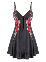 Plus Size Floral Applique Ruffle Cami Tank Top -