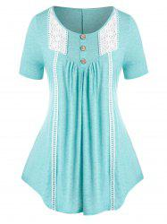Plus Size Crochet Panel Buttoned Curved Tunic Tee -
