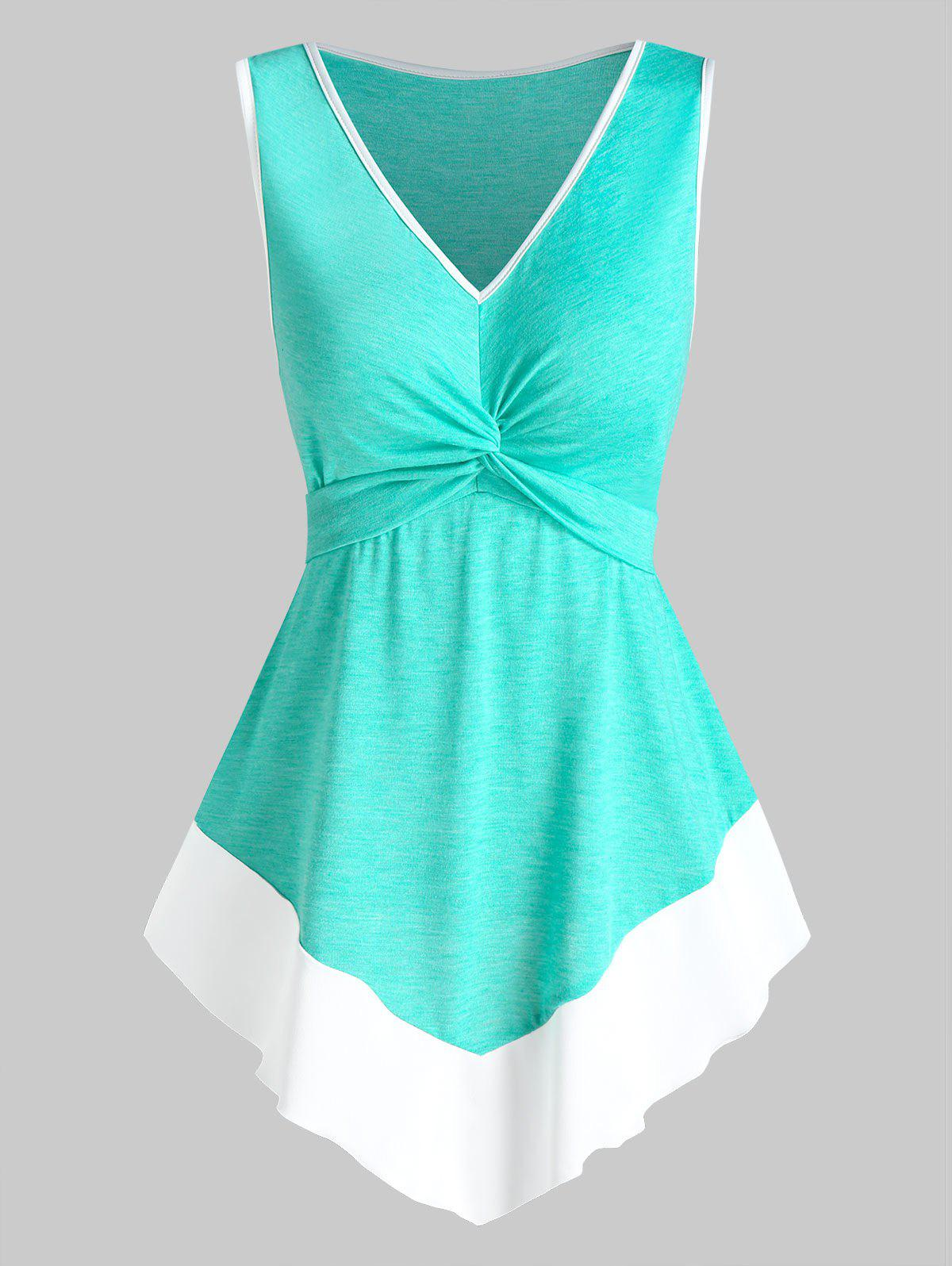 Fancy Twist Front Pointed Hem Contrast Flare Tank Top