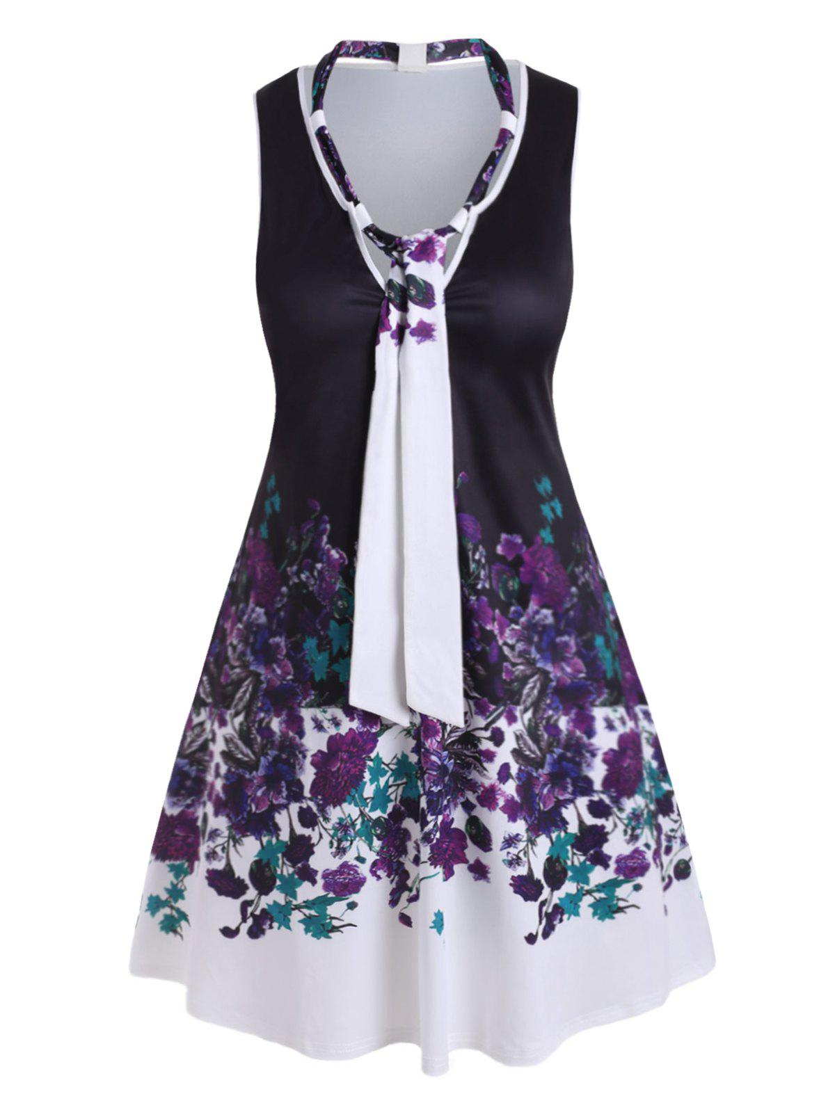 Outfit Plus Size Bow Tie Floral Knee Length Dress