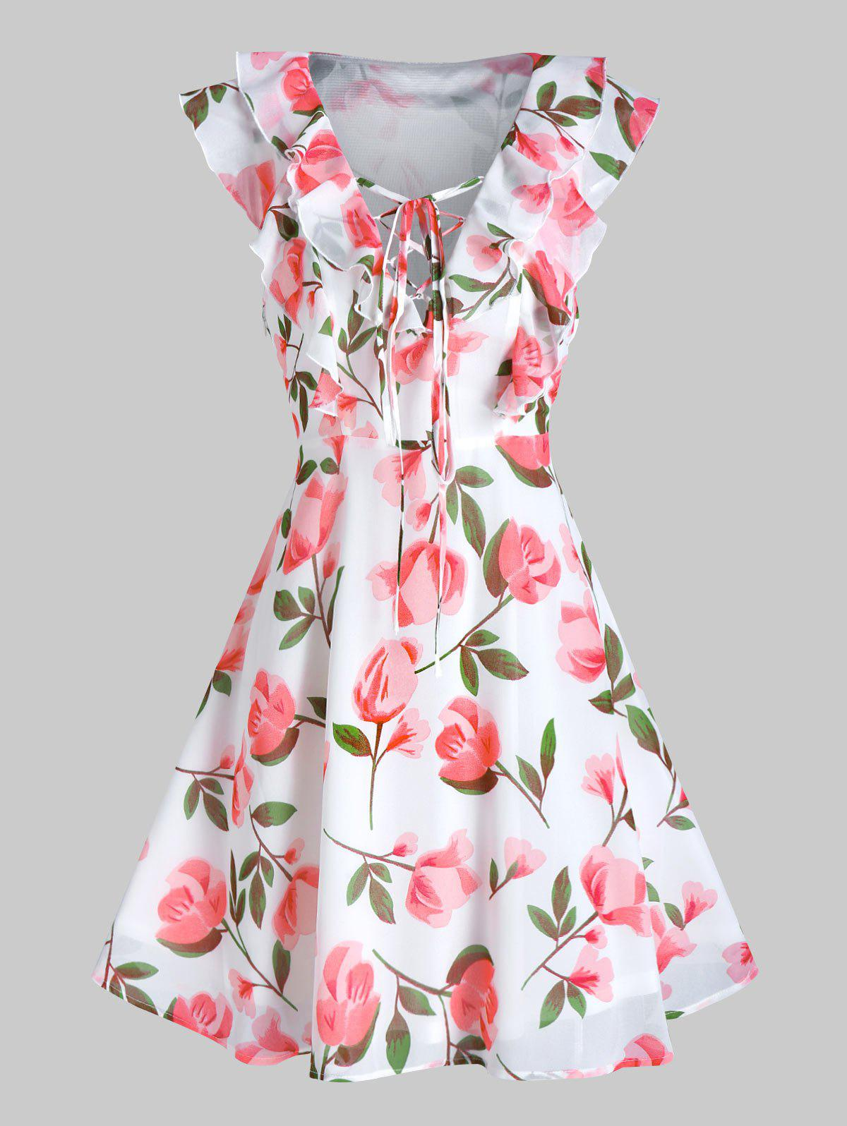 Sale Flower Print Lace-up Plunge Neck Sleeveless Dress