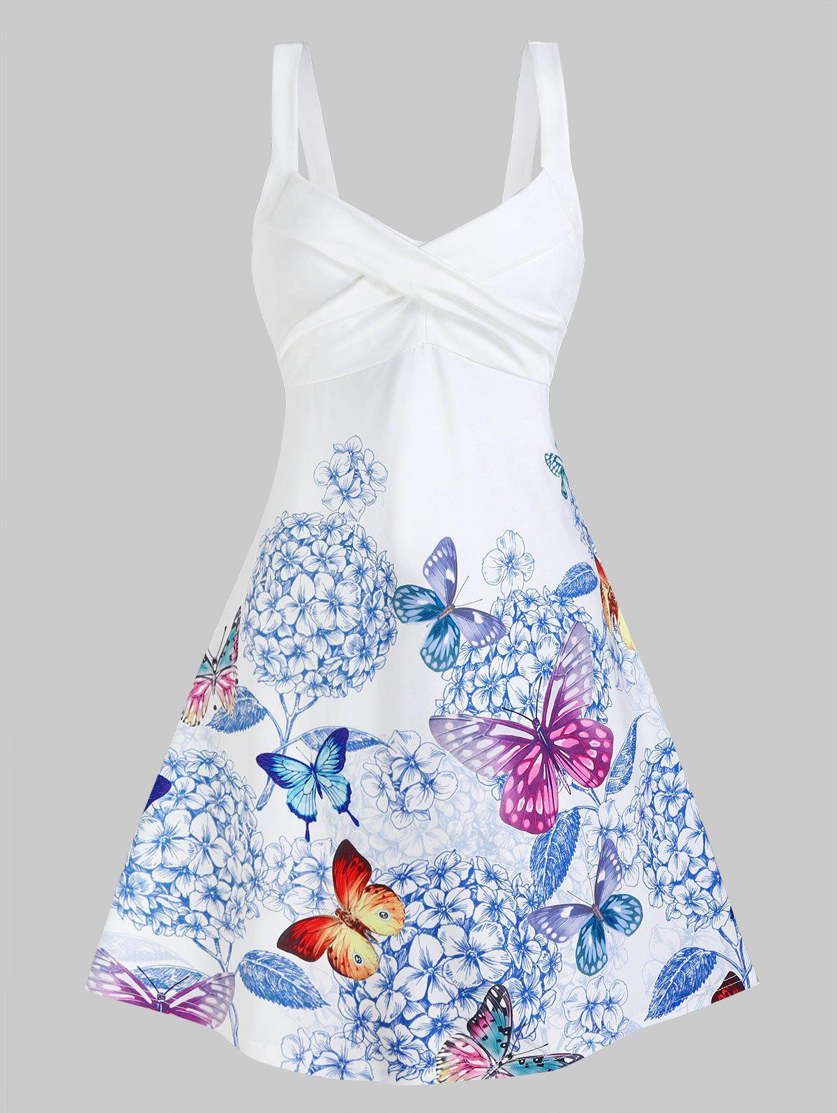 Outfits Sleeveless Butterfly and Flower Print Crossover Dress
