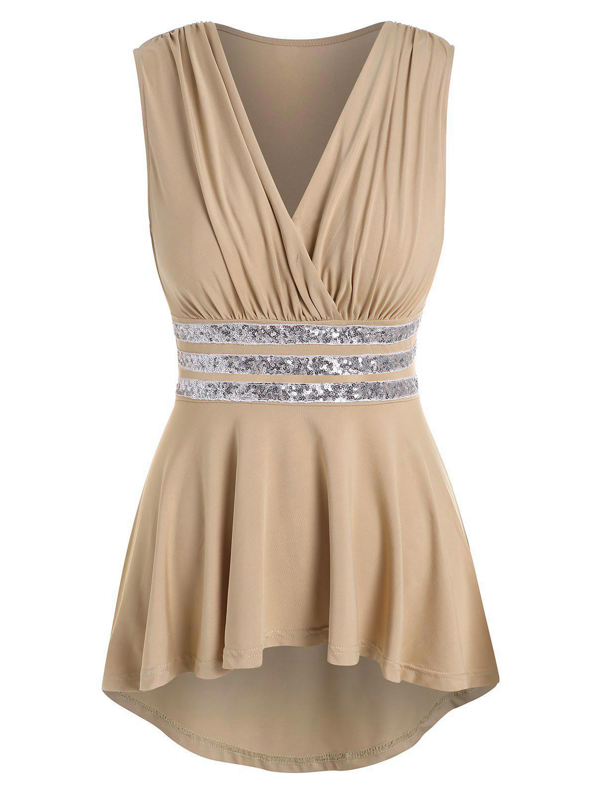 Cheap Sequined High Low Surplice Tank Top